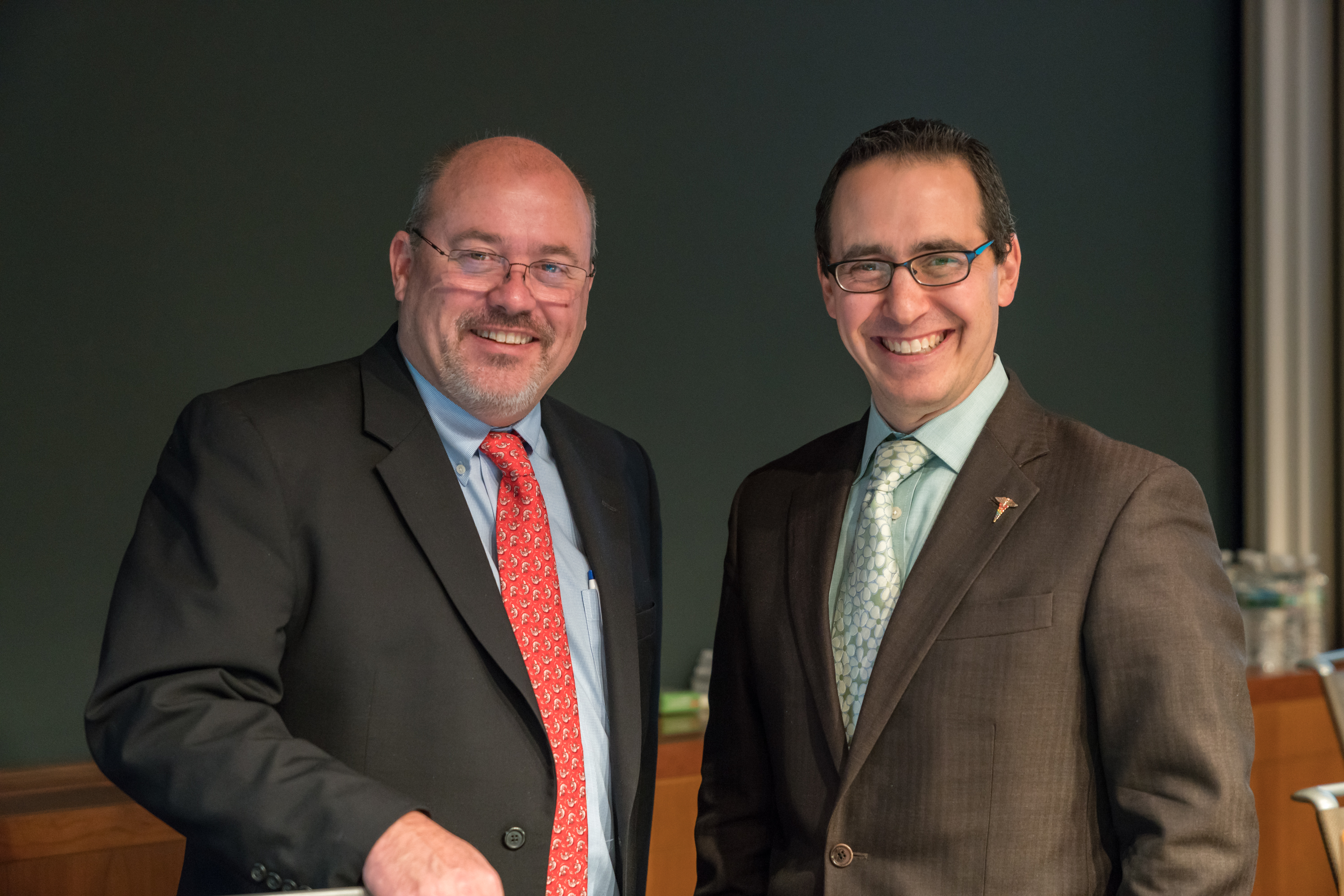 Caption: Frank MacMillan Jr., MD, FACG, vice speaker (L), David Rosman, MD, MBA, speaker (R)