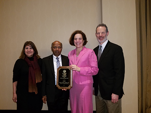 Helen Cajigas, M.D., Mangadhara Madineedi, M.D., Secretary/Treasurer Marylou C. Ashur, M.D., Norfolk District 2017 Community Clinician of the Year, and Stephen Epstein, M.D., Vice President